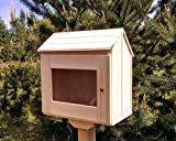 Unfinished little free library. Outdoor. Fully assembled. Natural wood.13''x21''x22.5'' .