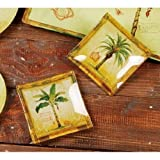 Palm Tree Small Glass Serving Tray