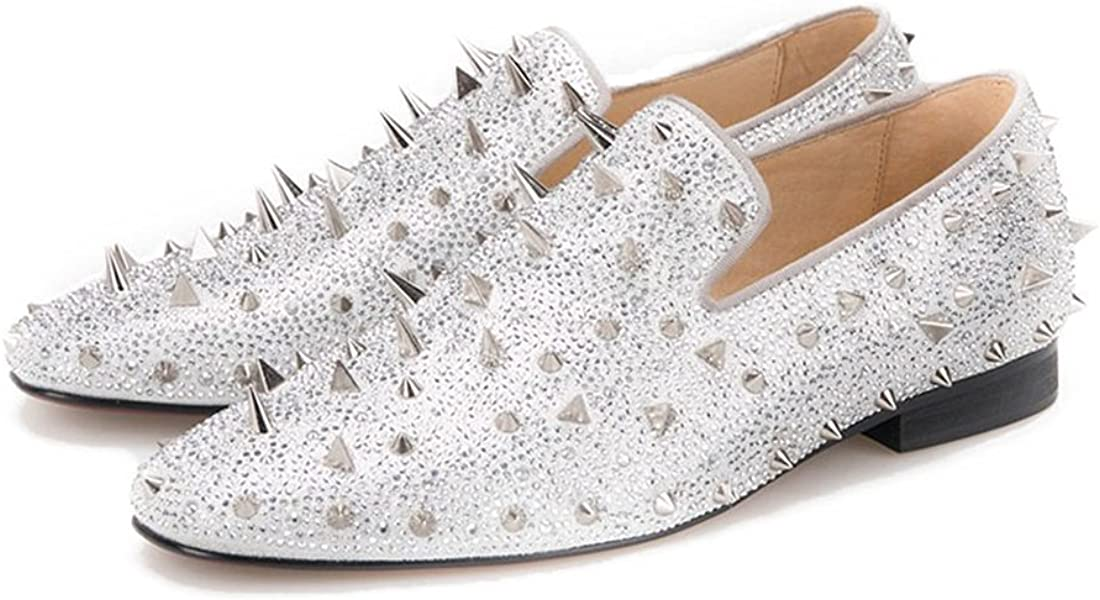 fe5e73b2224a4 Silver Rhinestone Spiked Penny Loafers Long Rivet Sparkly Slip-on
