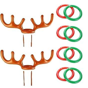Cosoro 2pcs Fiesta De Navidad Inflable Reno Sombrero De Asta De