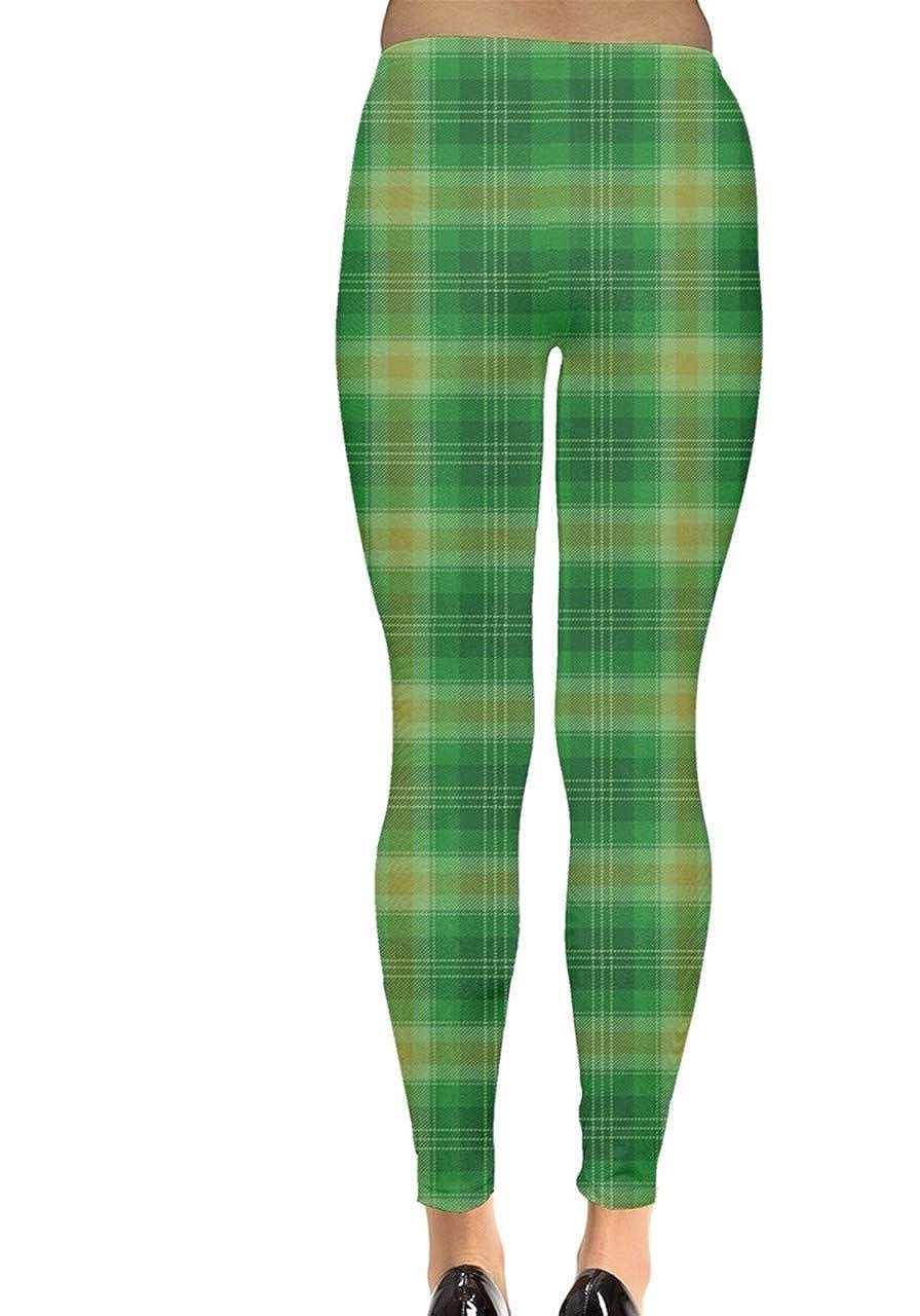 CowCow Womens Green Shamrock St Patricks Day Clover Leaves Leprechauns Leggings XS-5XL