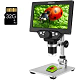 Digital Microscope ANNLOV 1080P Video Microscope with 8 Adjustable LED Lights and Metal Stand for Kids Adults Soldering Coin