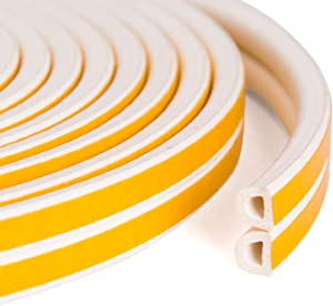 Aurora Miracle Door Seal Strip Kit 50 ft - White D-Profile EPDM Door Weatherstrip | Best for Door and Window Insulation to Protect from Weather and Sound (White)