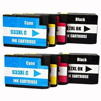 ouguan® 8 x (2 negro/2 Cian/Magenta/Amarillo) Compatible cartucho ...