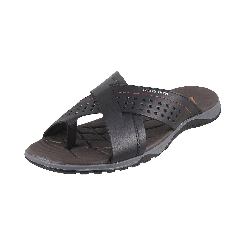 5804de9586233 West Coast Men Black Flip Flops  Buy Online at Low Prices in India -  Amazon.in