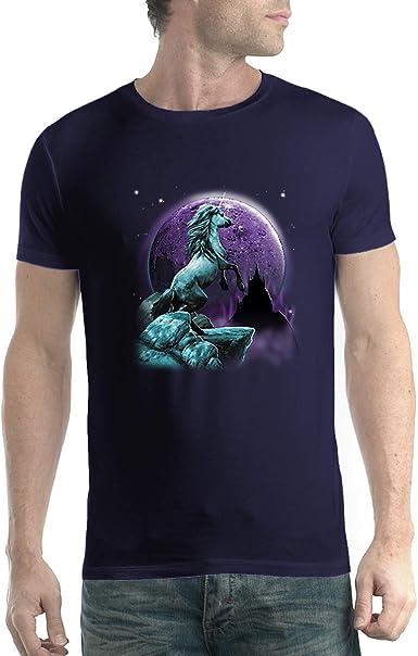 avocadoWEAR Unicornio Luna Púrpura Hombre Camiseta XS-5XL: Amazon.es: Ropa y accesorios