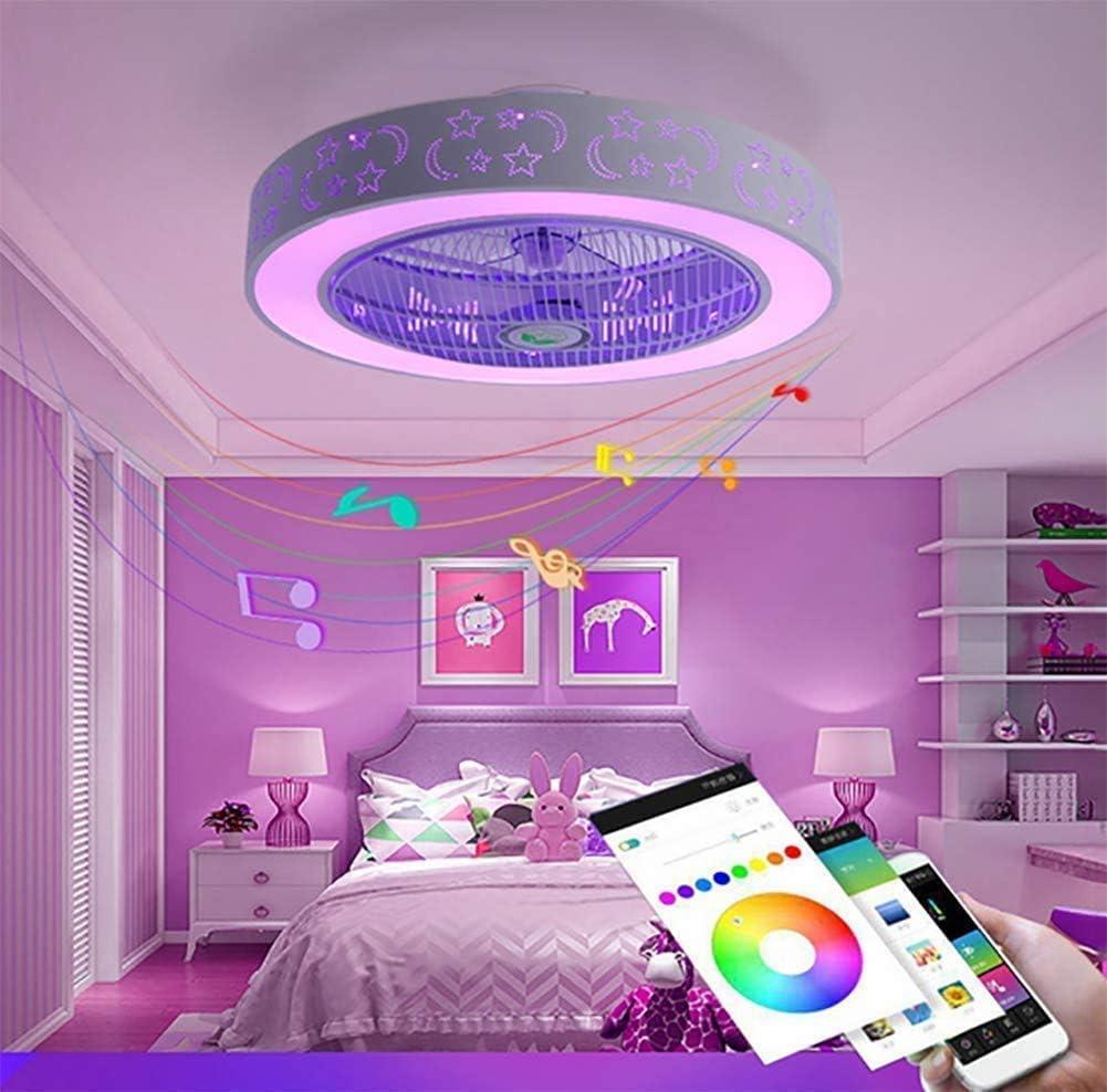 Equipado con doble altavoz de m/úsica Bluetooth techo LED modernos ventiladores de techo techo de l/ámina regulable telesc/ópica luz y el control remoto 84W // 58cm plegado restaurante ara/ña,Black