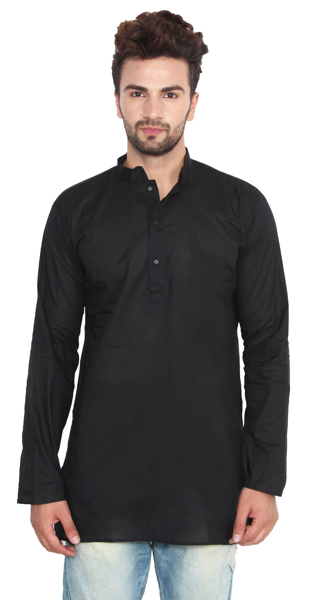 Cotton Mens Short Kurta Shirt India Clothes (Black, XL)