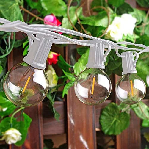 Goothy 50Ft Outdoor LED String Lights with 52 Shatterproof G40 LED Clear Globe Bulbs, Edison Vintage Bulbs E12 Base Hanging Sockets, Decorative Lighting for Caf Patio Porch Party Yard Christmas-White