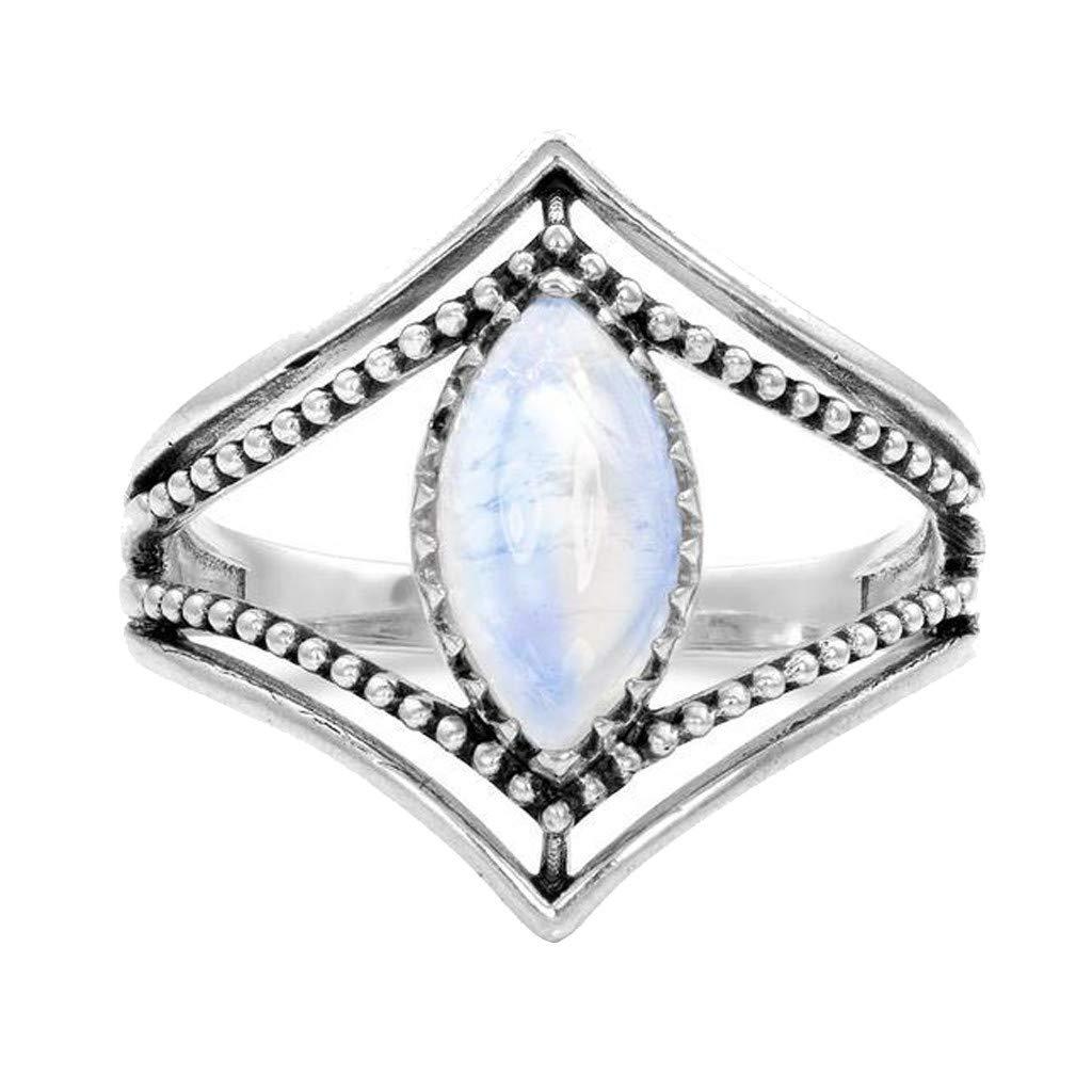 Sinwo Women Exquisite Moonstone Diamond Encrusted Ring Stylish Ring Engagement Ring Gift (Silver B, 8)