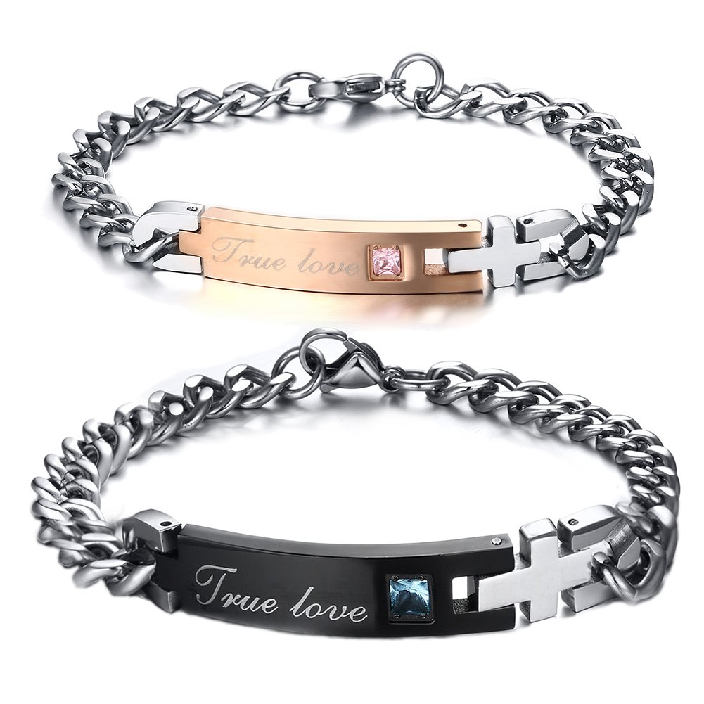 FANSING Matching Couple Bracelet, True Love, Stainless Steel Wrist Jewelry, Cross Design, Black & Rose Gold, 2PCS