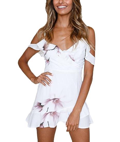 Vestidos Cortos Mujer Verano Elegantes Tirantes V Cuello Hombros Descubiertos Vestido Playa Verano Moda Dresses Fiesta