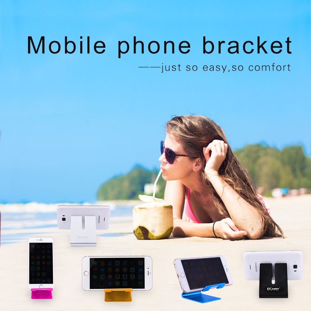 Ecandy Color Aluminium Metal Mobile Phone Tablet PC Stand Holder (Black)