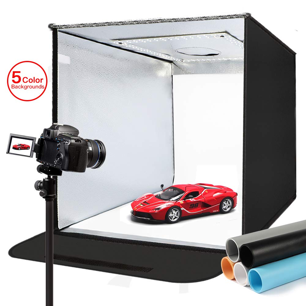Photo Light Box, FOSITAN Photo Studio Box 20''/50cm Brightness Adjustable Portable Folding Shooting Tent Hook & Loop Table Top Photography Lighting Kit with Bright LEDs 5 Colors Backdrops by FOSITAN