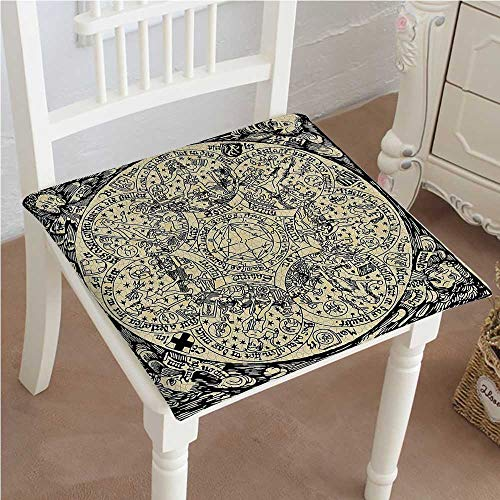 (Squared Seat Cushion Series of Ancient Mystic Esoteric Old Map with Man Figures Vintage Symbols Decor Garden Patio Home Kitchen Office Sofa Seat Pad)