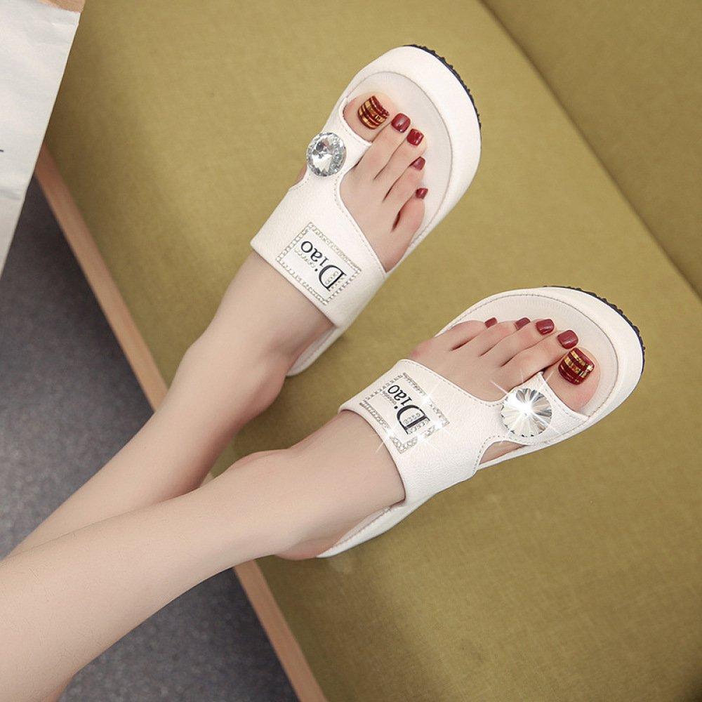 XING GUANG Neue Sommer Teddy Sandalen und Hausschuhe Koreanische Strass Dicksohligen Füße Faule Schuhe Muffins Flache Wilde Sandalen Frauen,WhiteDiamond(36)  Whitediamond(36)