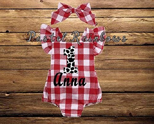 Baby Girl Farm 1st Birthday Baby Romper-Red Gingham Bubble-Personalized Farm Themed Romper-Red Gingham Romper
