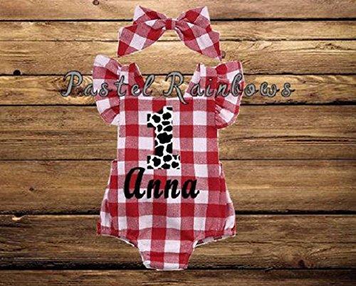 fd20f4856 Amazon.com: Baby Girl Farm 1st Birthday Baby Romper-Red Gingham  Bubble-Personalized Farm Themed Romper-Red Gingham Romper: Handmade