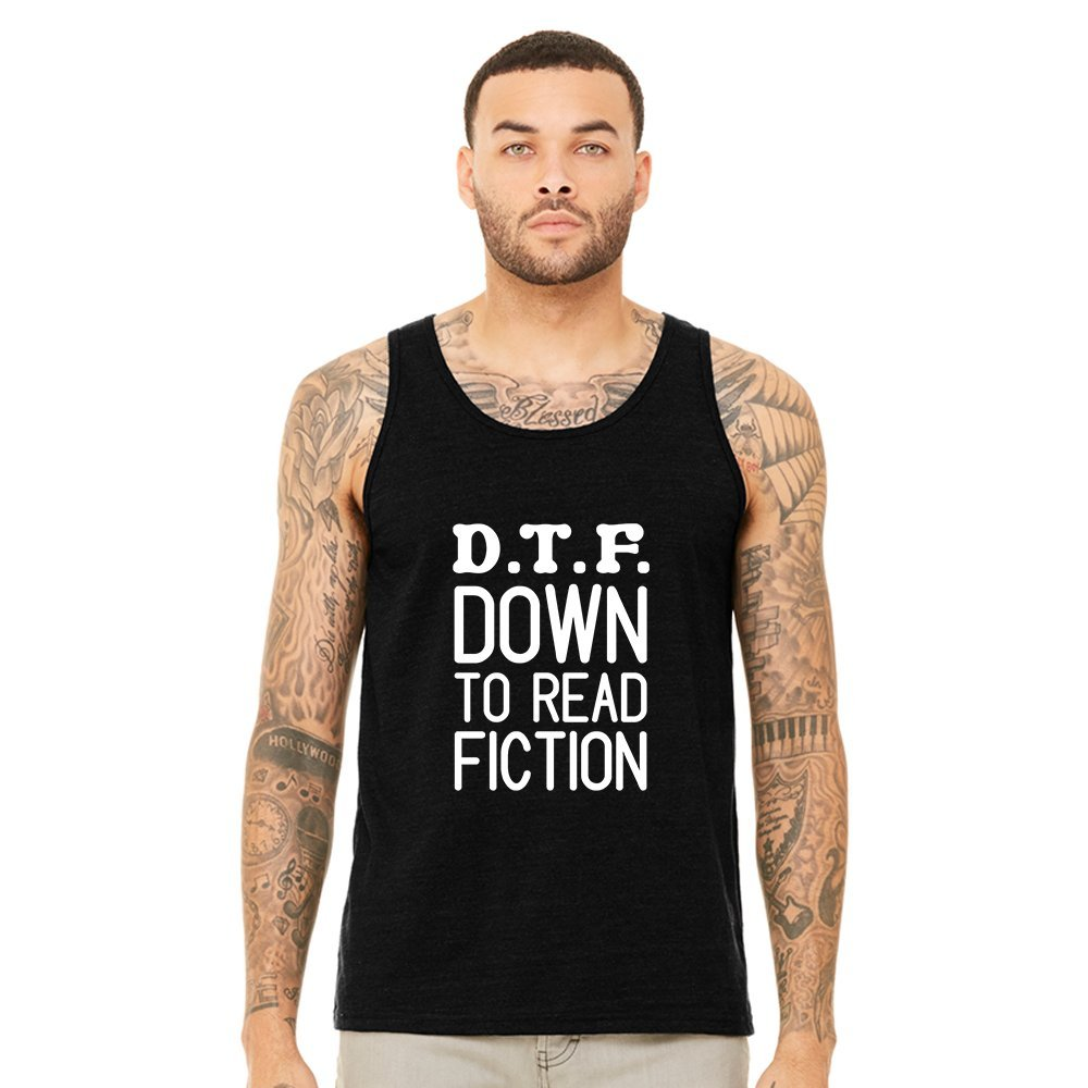 Mad Over Shirts D.T.F Down to Read Fiction Unisex Premium Tank top