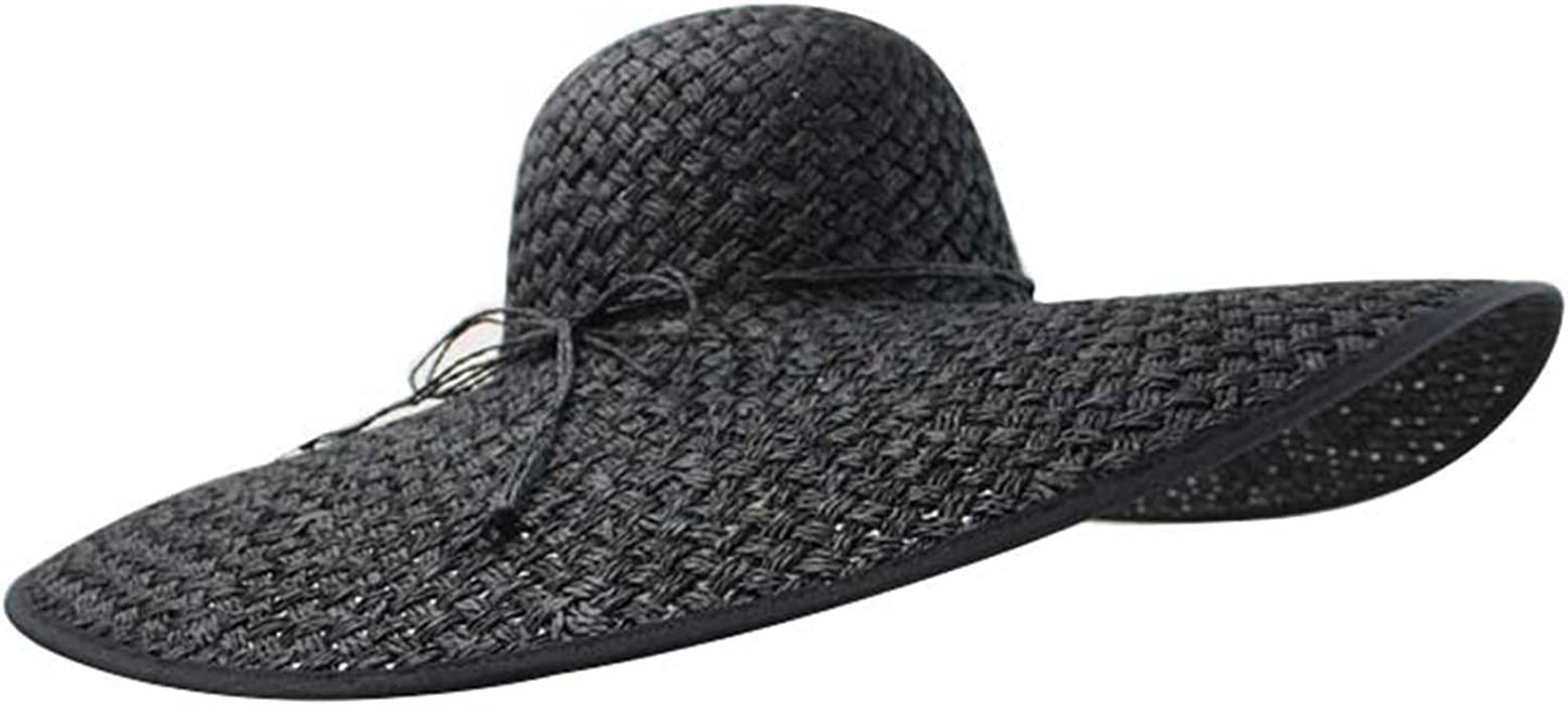 b6ac57bb Luxury Divas Black Wide Brim Straw Floppy Hat at Amazon Women's ...