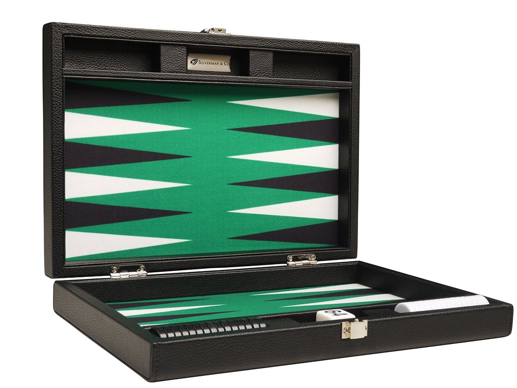 Silverman & Co. 13-inch Premium Backgammon Set - Travel Size - Black Board, Green Playing Surface, Black and White Points by Silverman & Co.