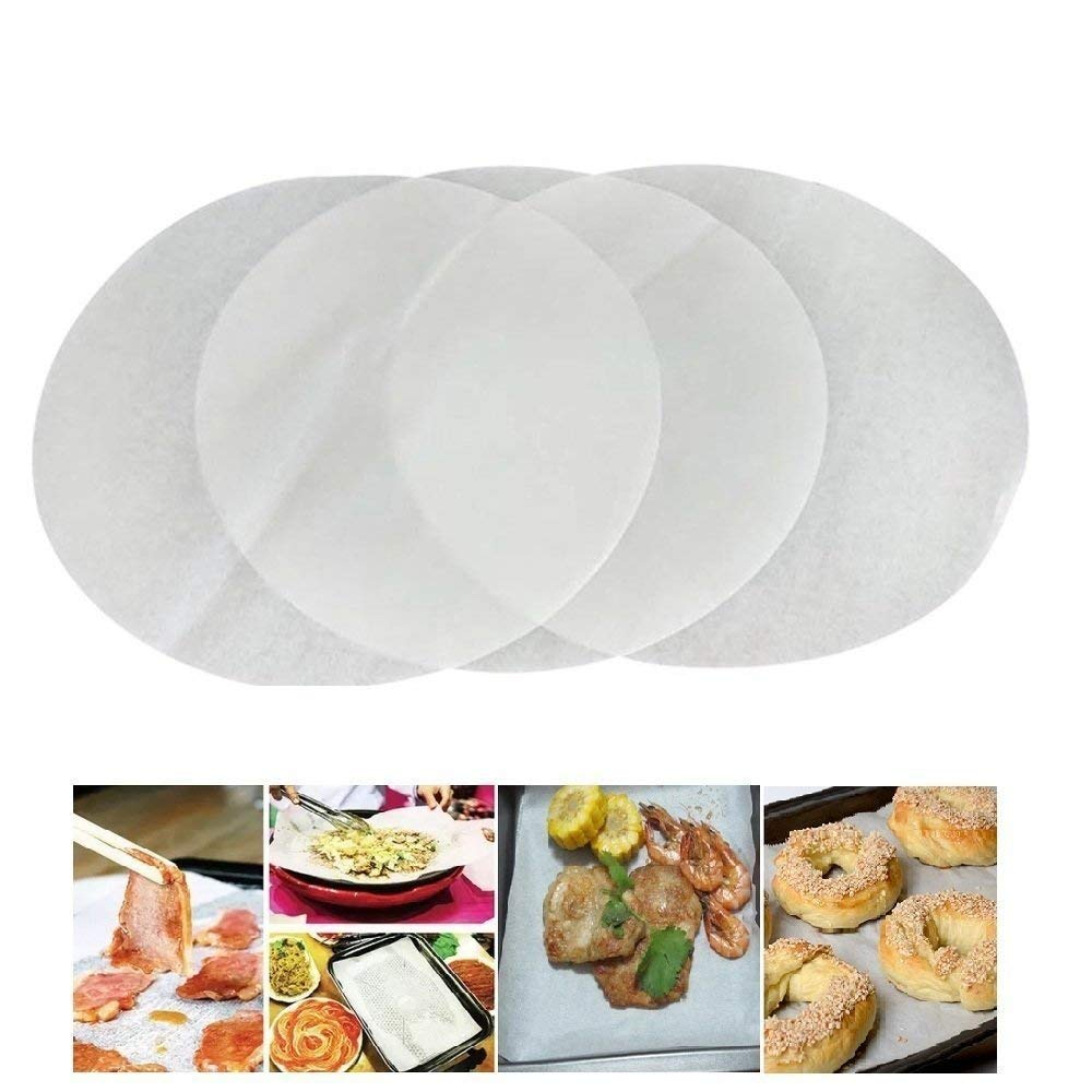 DAYOLY (Set of 100) Non-Stick Round Parchment Paper Baking Paper Liners 8 Inch Diameter for Round Cake Pans Circle White (20CM)