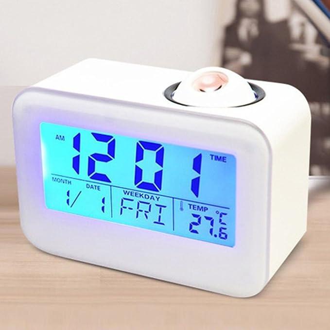 ALIKEEY 124 * 87 * 54 mm ❤ Reloj Digital de Despertador de proyección de anuncios de Cristal líquido electrónica Voice-activé retroiluminación Voz ...