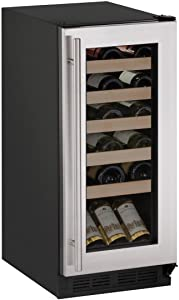 "U-Line U1215WCS00B 15"" Built-in/Freestanding Wine Storage, Stainless Steel"