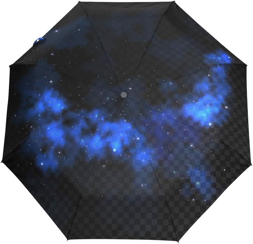 Digital Virtual Starry Sky fashion print cute Windproof automatic tri-fold umbrella sun UV protection Sun umbrella