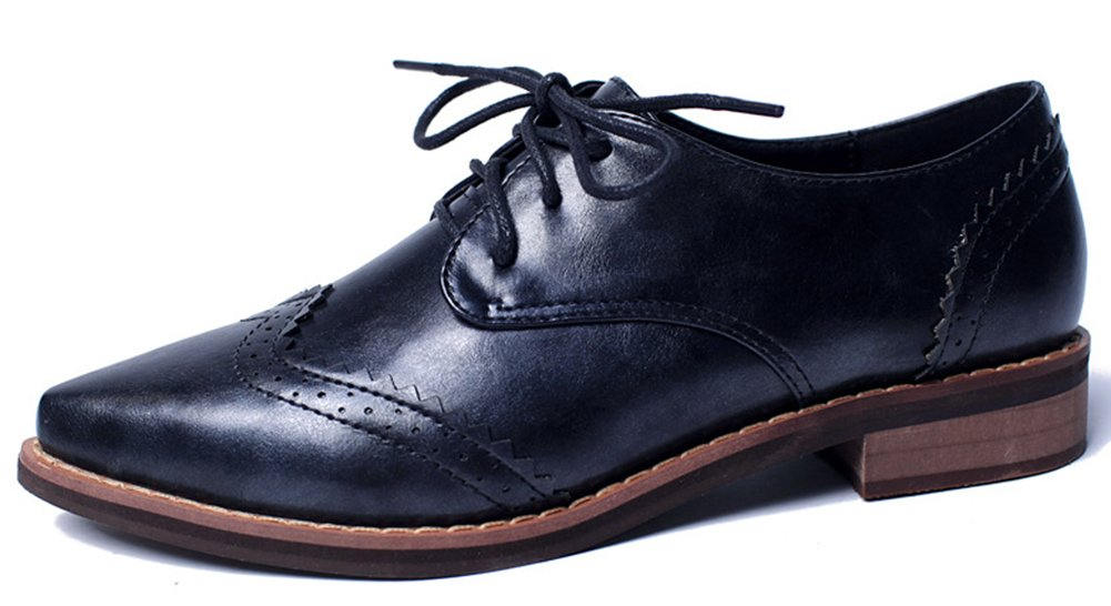IDIFU Women's Classic Low Chunky Heels Wingtip Lace Up Oxfords Shoes Black 7.5 B(M) US