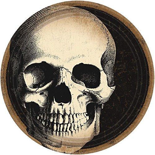 Amscan Creepy Halloween Boneyard Skull Crew Disposable Round Dessert Paper Plates (60 Piece), 7