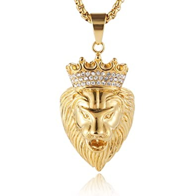 2c34bab99ed30 Buy HZMAN Men 18k Gold Plated Stainless Steel CZ Crown Lion King ...