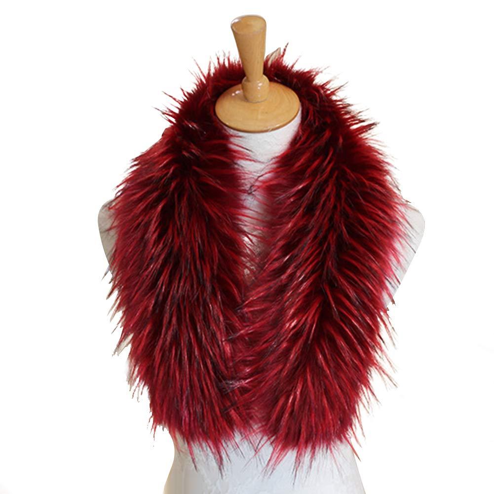 Amorar Sciarpa di Volpe di Simulazione Cappotto Invernale Moda Colore Invernale Abbinato Scialle in Pelliccia Sintetica Scialle Avvolgente Caldo