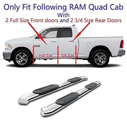 """SILVER 4/"""" OVAL STEP NERF BAR RUNNING BOARD KIT FOR 02-09 DODGE RAM QUAD CREW CAB"""