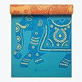 Gaiam Yoga Mat Premium Print Reversible Extra Thick Non Slip Exercise & Fitness Mat for All Types of Yoga, Pilates & Floor Exercises, Elephant, 5/6mm