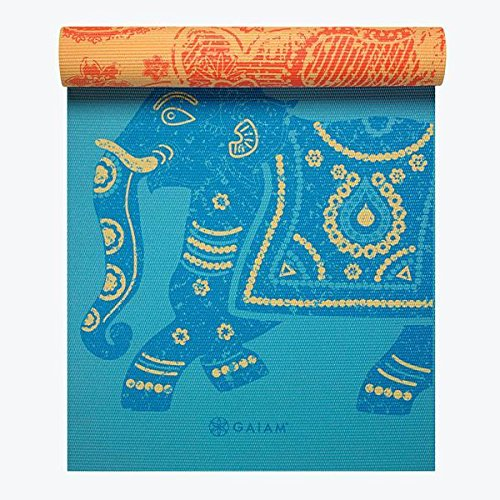 Gaiam Yoga Mat Premium Print Reversible Extra Thick Non Slip Exercise & Fitness Mat for All Types of Yoga, Pilates & Floor Exercises, Elephant, 5/6mm