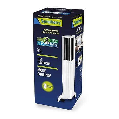 Symphony Diet Enfriador, purificador y humidificador, 170 W, 35 litros, 65 Decibeles, Plástico, 3 Velocidades, Blanco