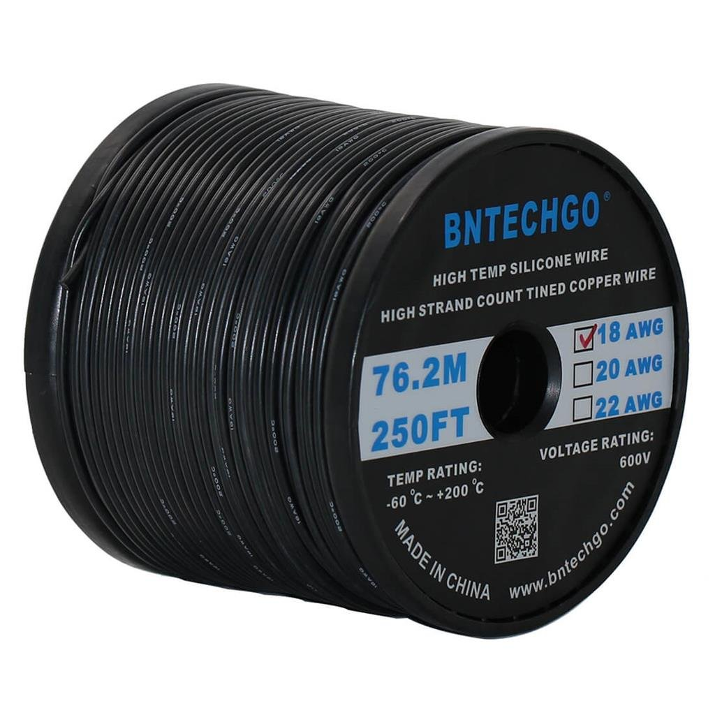BNTECHGO 18 Gauge Silicone Wire Spool Black 250 feet Ultra Flexible High Temp 200 deg C 600V 18 AWG Silicone Rubber Wire 150 Strands of Tinned Copper Wire Stranded Wire for Model Battery Low Impedance