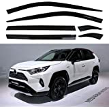 Carbon Fiber Grain HIGH FLYING 2019 2020 for Toyota RAV4 Window Scoop Louvers Cover ABS 2PCS