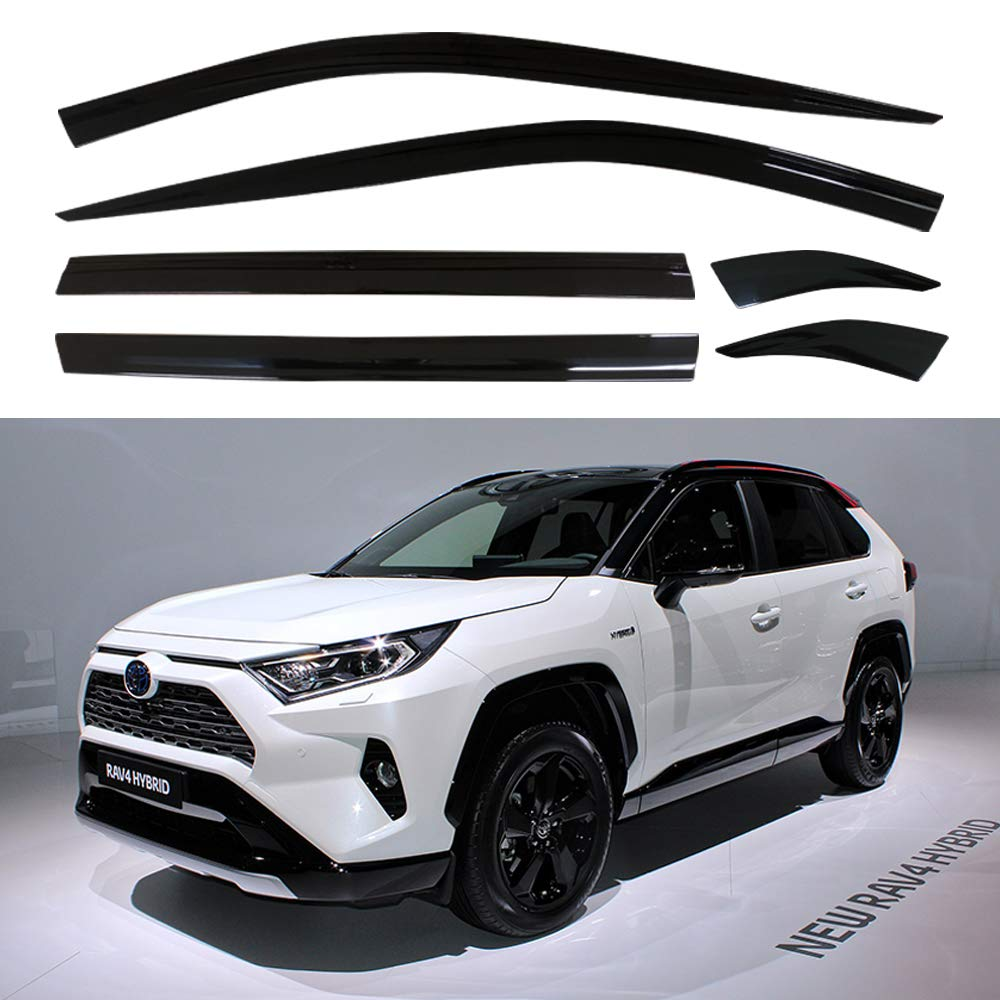 Safe RAIN Out-Channel Guard Deflector AUTOCLOVER Dark Smoked Side Window Vent Visor 6 Piece Set for Toyota RAV4 2020