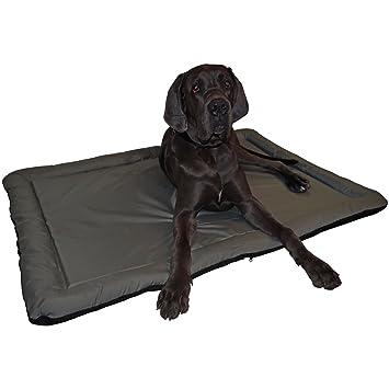 Cama para perros resistente al agua apta para interior y exterior alfombrilla para perros en color negro Größe XXL 114 x 80 cm Grau - Rückseite Schwarz: ...