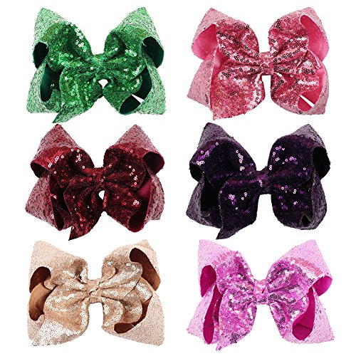Shamrock Hair Clip - NCMAMA Sequin Ribbon Bows Set: 6-Pack Cute Hair Bows For Women & Teens & Kids| Premium Quality Handmade 7