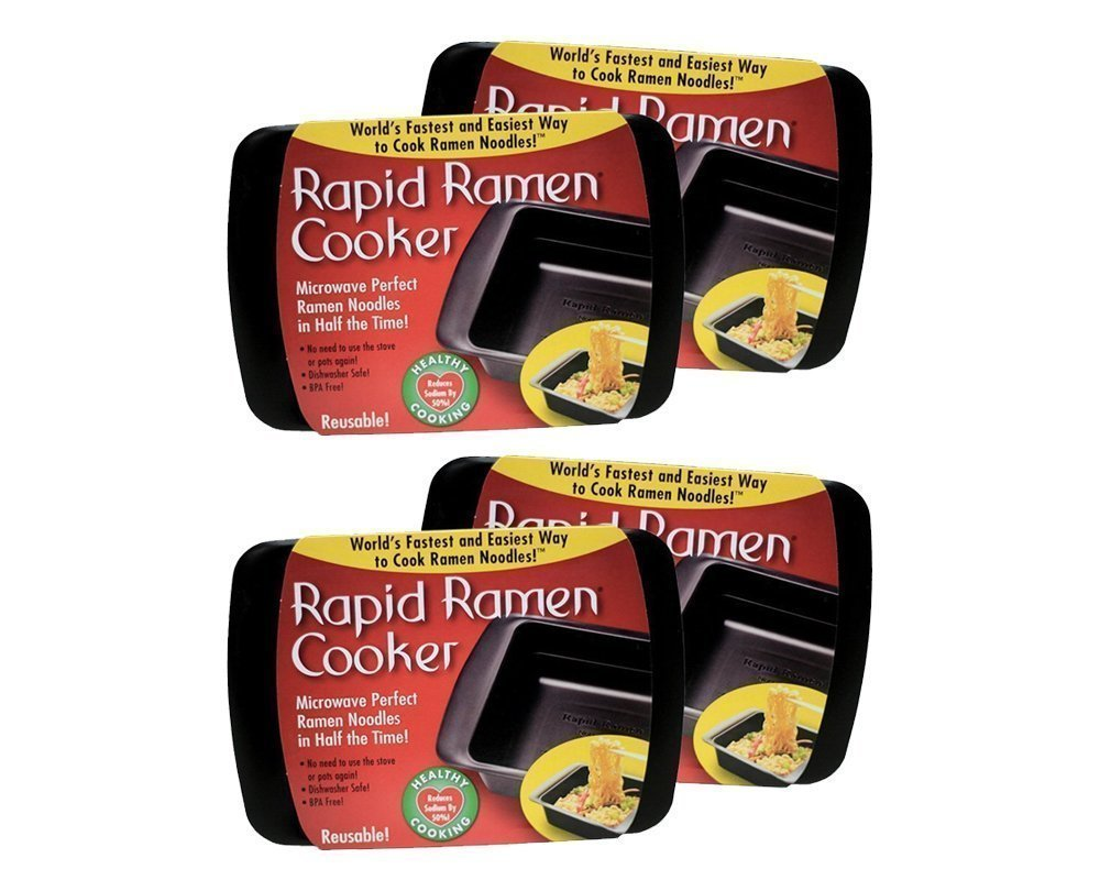 Rapid Ramen Cooker - Microwave Ramen in 3 Minutes - BPA Free and Dishwasher Safe (Four Black) by Rapid Brands (Image #1)