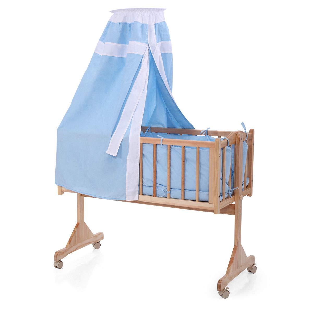 Blue Wood Baby Cradle Rocking Crib Bassinet Bed Sleeper Born Portable Nursery