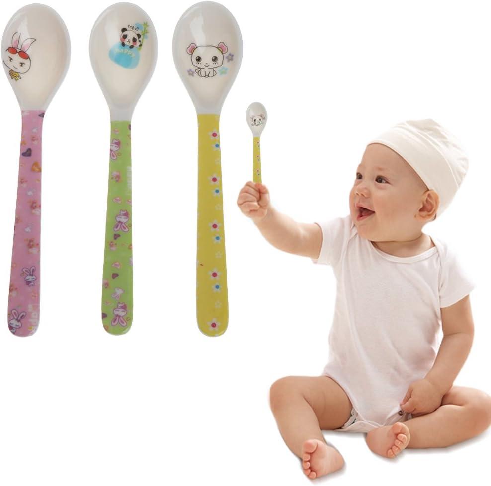 JAGETRADE 2pcs Cartoon Baby Kids Cuchara de Alimentaci/ón Cuchara de Cocina de Melamina Beb/é