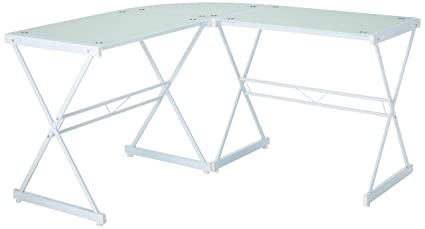 Astonishing Amazon Com Techni Mobili Rta 3805L Wht L Shaped Glass Interior Design Ideas Clesiryabchikinfo