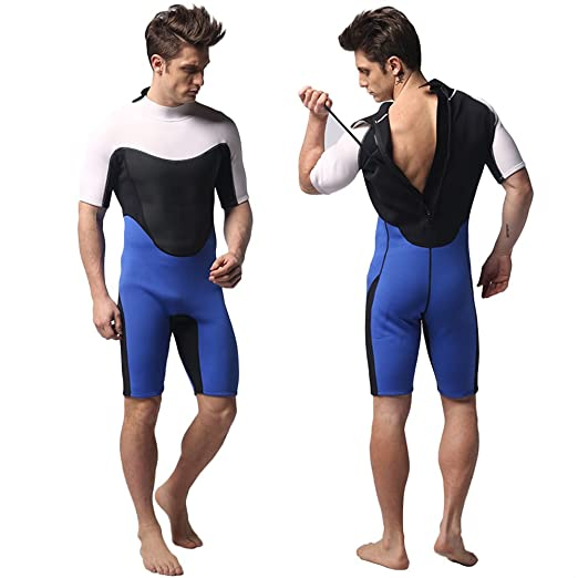 7dc0d52cbd Amazon.com   3mm One Piece Sun Protection Marine Shorty Wetsuit Swimwear  for Diving Surfing Snorkeling Swimming Men Women Black XL   Sports    Outdoors