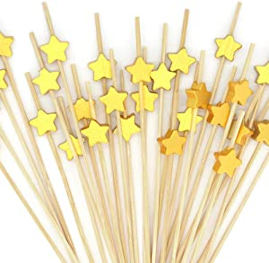 Cocktail Picks 100pcs 4.7 inch for Appetizers Fruit Sticks Wooden Star Food Picks Cocktail Toothpicks Bar Party - Drinks Fruits Decoration,Brown Gold