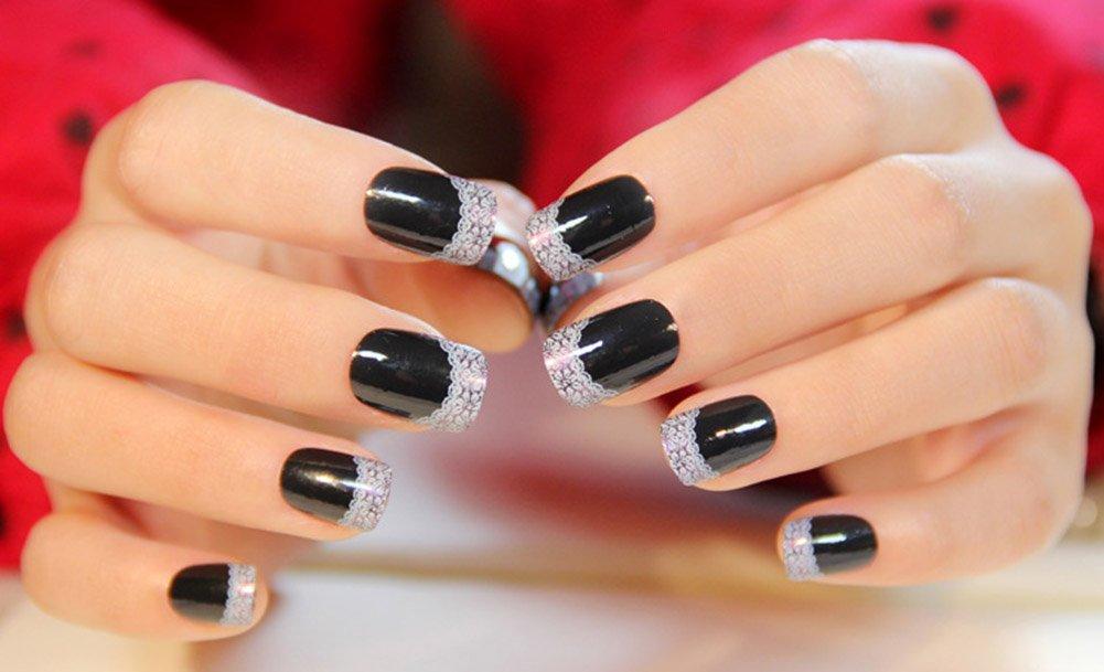 Amazon.com : YUNAI 24pcs/set French Lace Short Paragraph Fake Nails ...