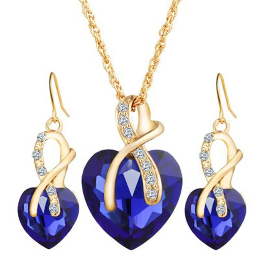 Clearance Deals Women Heart Crystal Rhinestone Silver Chain Pendant Necklace+ Earrings Jewelry Sets Romantic Gift by ZYooh (Blue)